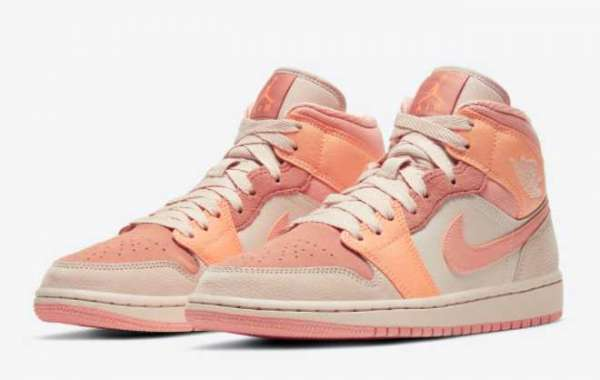 """Latest Air Jordan 1 Mid """"Apricot Orange"""" Sneakers For Sale DH4270-800"""